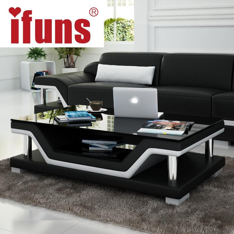 Ifuns eenvoudige moderne mode glazen salontafel lederen