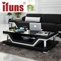 Ifuns simples capa de couro mesa de café mesa de chá de vidro moda moderna para móveis para sala
