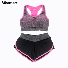 VEAMORS Women Quick Dry Sports Yoga Set Suit ,Gym Running Sport Bra Tank Tops + Fitness Yoga Shorts Sportwear Workout Clothes