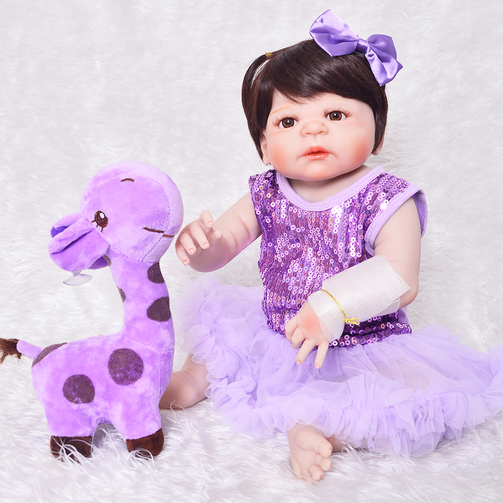 23'' Realistic Purple Princess Reborn Baby Girl Full Silicone Vinyl Doll Lifelike Reborn Babies Doll Toy For Children Xmas Gifts lifelike american 18 inches girl doll prices toy for children vinyl princess doll toys girl newest design