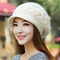 Korean Style Fashion Knitted Wool Berets Beanies For Adult Women Autumn Winter Warm Shaped Braid Caps Skullies