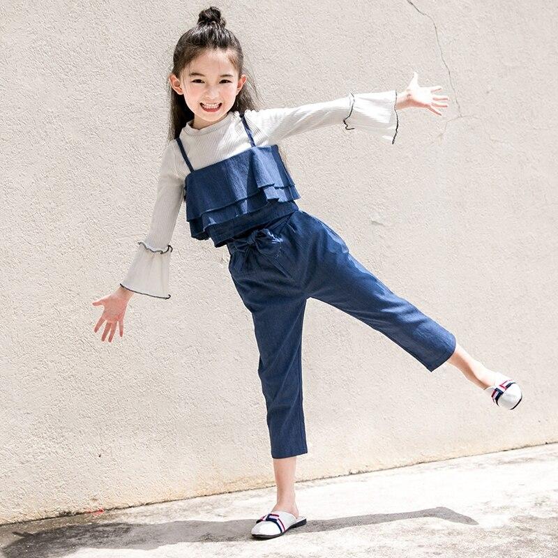 цена 2017 Kids Clothing Set 3pcs Outfit for Children Fashion Denim Costumes Saia Clothes Girls Age5 6 7 8 9 10 11 12 13 14T Years Old онлайн в 2017 году