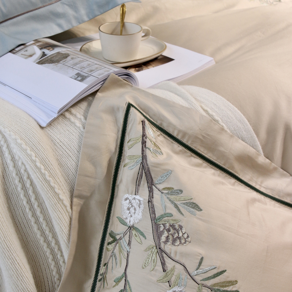 2018 Pastoral Leaves Light Tan Bedlinens Embroidery Egyptian Cotton Bed Covers Queen King Size Duvet Cover Set Bedsheet in Bedding Sets from Home Garden