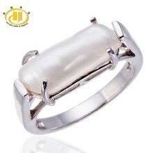 Hutang 100% Natural Perlas de Agua Dulce Joyería Sólido 925 Anillo de Plata Esterlina para Las Mujeres de Color Blanco