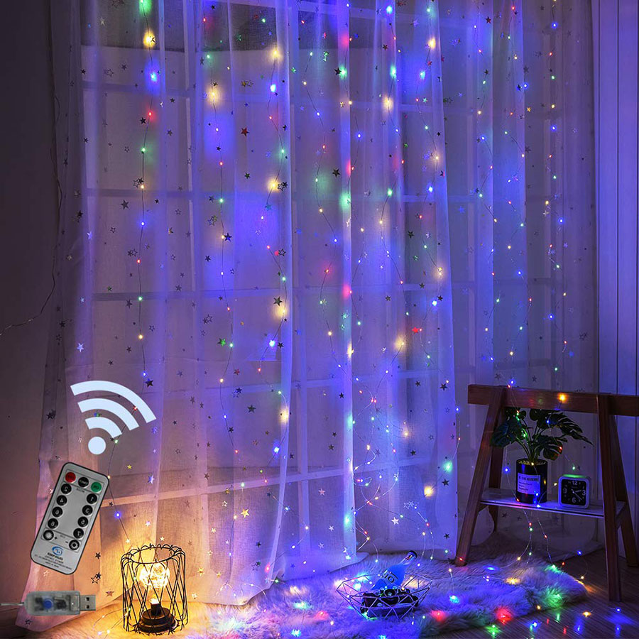 USB Powered 3x2 Meter LED Curtain Light Copper Wire Fairy Light With Remote Control Outdoor Garland For Xmas Holiday Wedding
