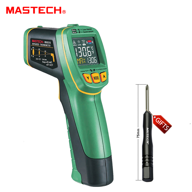 MS6531B MASTECH Handheld Non-Contact Digital LCD Display IR Infrared Thermometer Laser Temperature Tester Pyrometer termometro t010 new digital temperature meter tester mastech ms6520a laser pointer non contact infrared ir thermometer free shipping