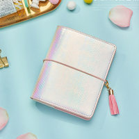 Lovedoki Yiwi Discolor Pu Leather Ring Binder Notebook A7 Pocket Planner Agenda Diary Book Stationery Store School Supplies
