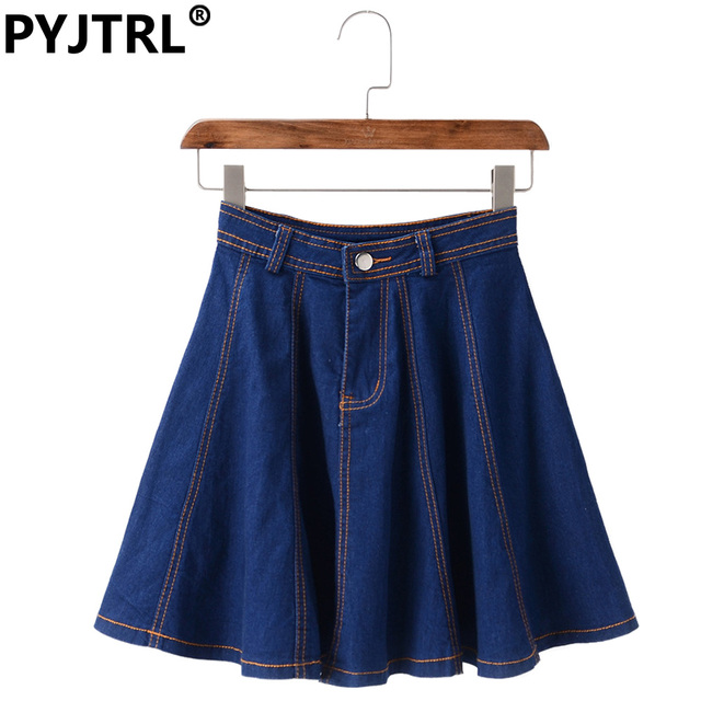 Mujeres classic vintage azul grande dobladillo denim mini falda