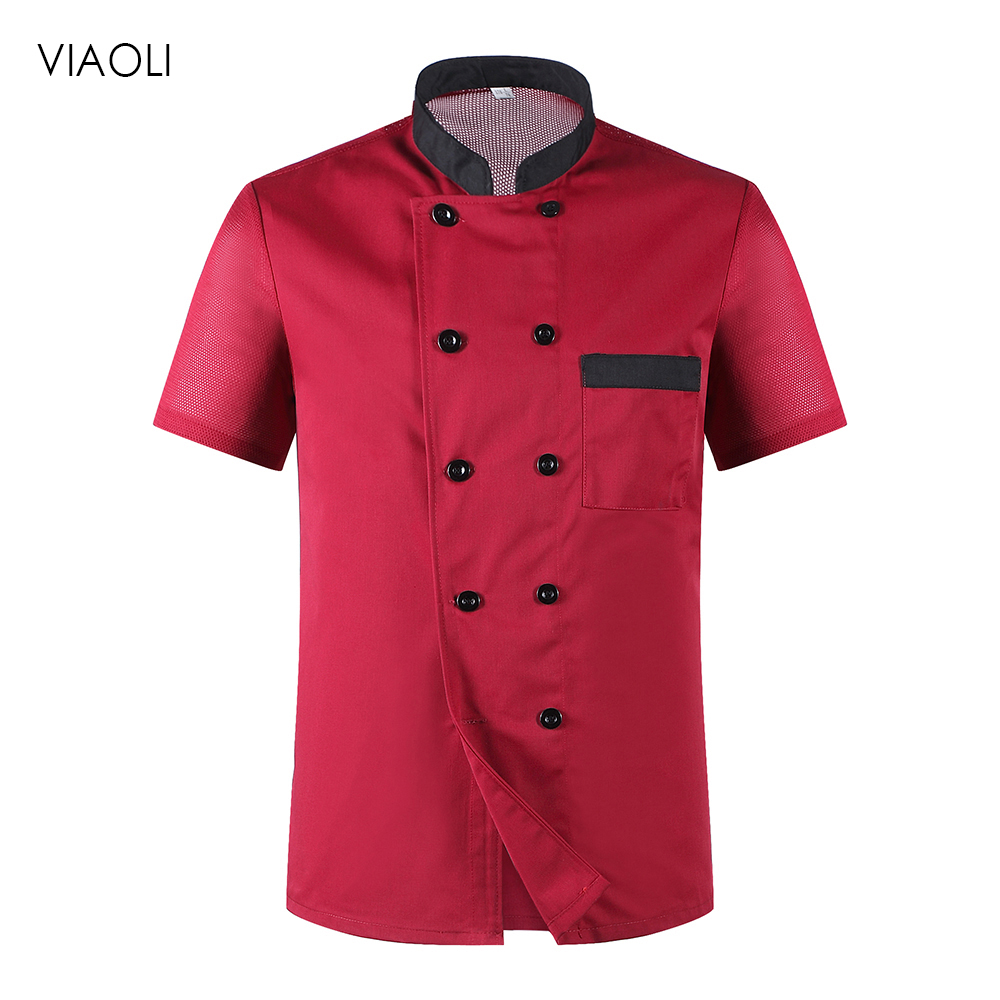 Viaoli Wholesale Chef Jacket Hotel Chef's Uniform Short Sleeve Unisex Breathable Workwear Shirt Hotel Uniform  Chef Uniforms New