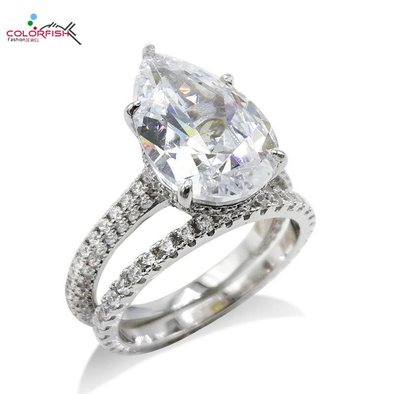 COLORFISH luxe 5ct poire Solitaire bague de fiançailles ensemble réel 925 argent Sterling promesse bijoux femmes bague ensemble