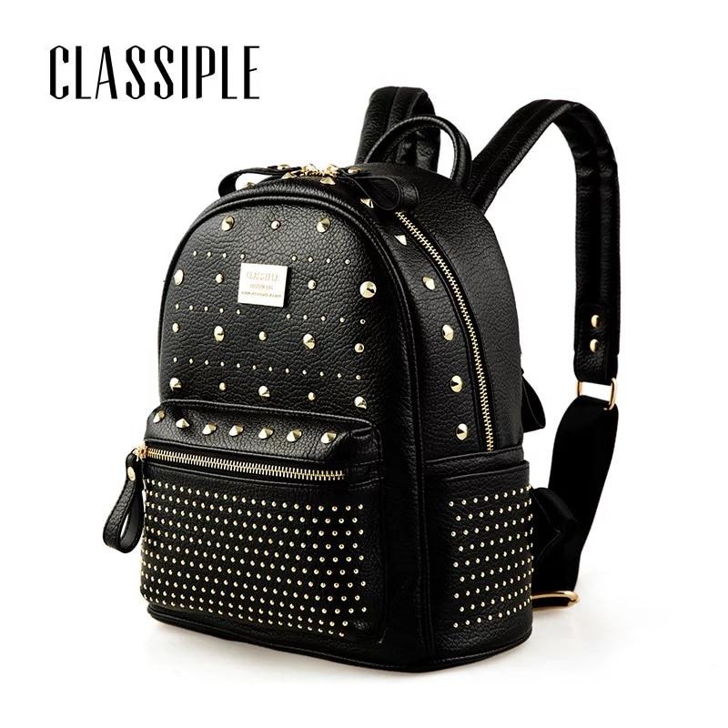 Leather Women Backpack 2018 New Rivet Designer Schoolbag Backpack Girl Womens Backpacks Bag Black Female Backpacks Bolsa Mochila женский тренч doaol d1149 page 6