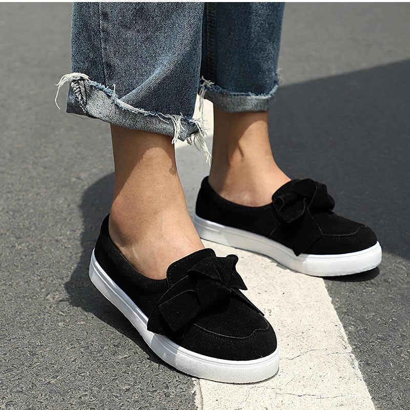 MCCKLE נשים מוקסינים בתוספת גודל פלטפורמת להחליק על Bowtie שטוח נעלי תפירה מקרית Bowknot נעל עבור צאן נשי מוקסינים הנעלה