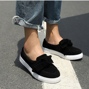 Image 2 - MCCKLE Women Loafers Plus Size Platform Slip On Bowtie Flat Shoes Sewing Casual Bowknot Shoe For Female Flock Moccasins Footwear