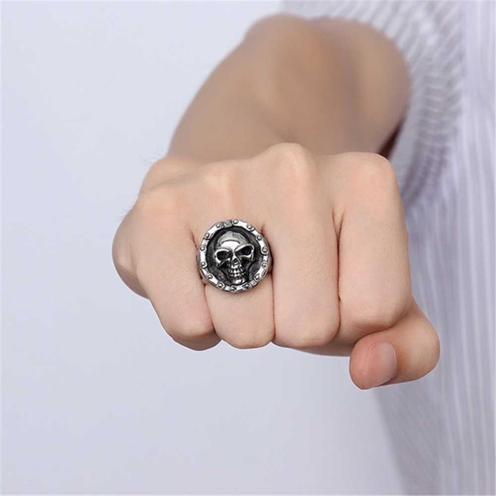 Titanium dos homens de aço do sexo masculino anel de caveira grande legal Do Punk Jóias vintage retro antigo esqueleto do super bowl anéis presente para ele