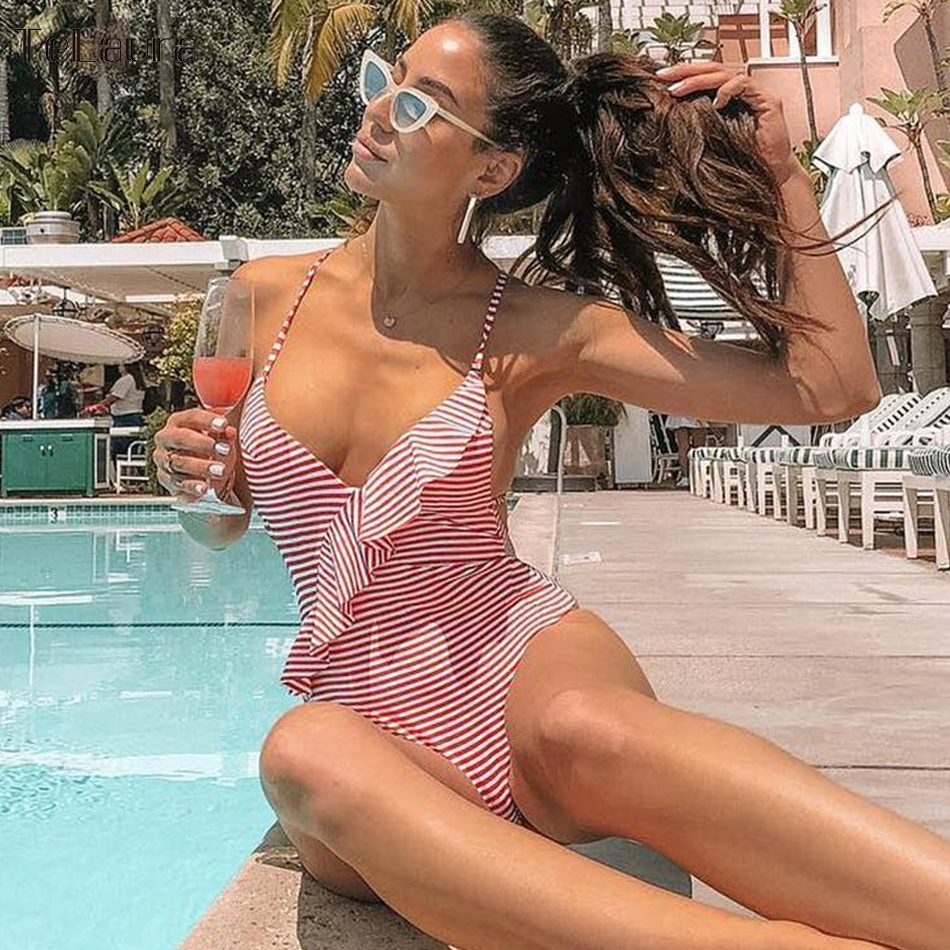 2018 Sexy Ruffle One Piece Swimsuit Women Swimwear Push Up Monokini Striped Bodysuit Summer Beach Wear Bathing Suit Swim Suit 2017 summer styles hollow monokini push up sexy bikinis women one pieces swimwear halter bathing suit conjoined swimsuit beach