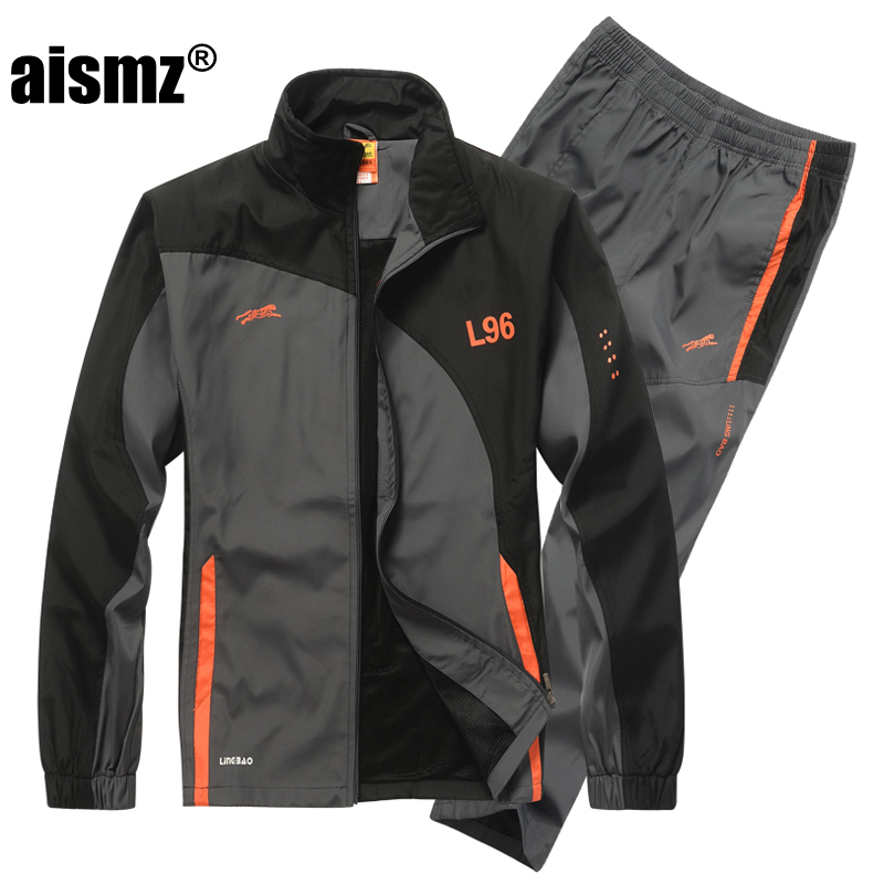 Aismz Brand Tracksuit Men Two Piece Clothing Sets Casual Jacket+Pants Track Suit men moletom masculino Sportswear Sweatsuits ...