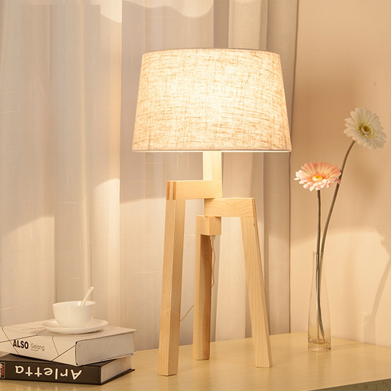 LukLoy Modern Minimalist Table Lamp Living Room Bedroom Bedside Wood Creative Decoration Fashion Study Nordic Textile Table Lamp tuda 24x49cm free shipping fashion creative table lamp resin rabbit shaped table lamp living room decoration modern table lamp