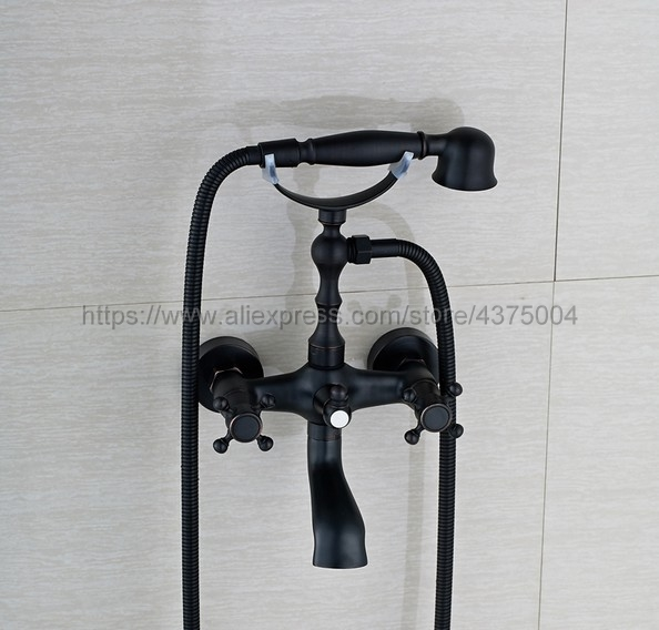 Bathtub Faucets Oil Rubbed Bronze Shower Faucets Dual Handle Wall Mounted Bath And Shower Faucet With Handheld Showers Ntf021