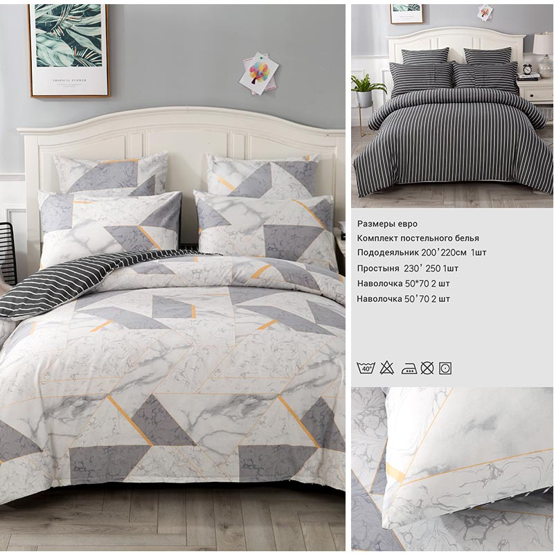 Image 4 - 4/7pcs quilt cover sheet pillow comforter bedding set cotton euro