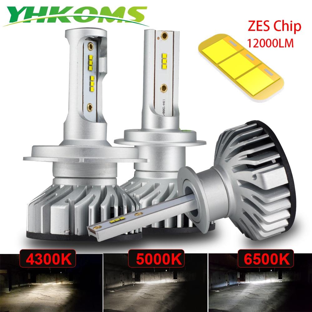 Автомобильная фара YHKOMS, 2 шт., 60 Вт, 12000LM, Canbus, H4, H7, 4300K, 5000K, 6500K, светодиодный мини-фонарь H1, H3, H8, H9, H11, 9005, 9006, противотуманная автомобильная лампа ...
