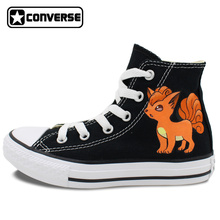 Black High Top Converse All Star Shoes Boys Girls Pokemon Go Vulpix Fox Design Custom Hand Painted Shoes Women Men Sneakers