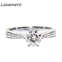 LASAMERO Round Cut 1CT Prong Set Certified Moissanites Ring Solitaire 10k White Gold Engagement Wedding Ring Fine Jewelry