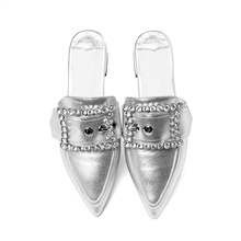 2019 spring and summer women's slippers fashion design exquisite shiny decoration sexy pointed toe comfortable slippers women stylish women s slippers with pointed toe and solid colour design
