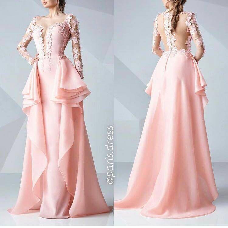 Baratos Elegant pink vestidos de noche 2017 nuevos apliques de ...