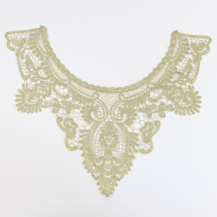 ⃝Oro Bordado escote decoración del traje Costura applique Craft ...