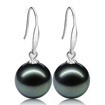 ASHIQI vintage Noble Natural Tahitian pearl earring Gold earrings for women 10 11mm Black Pearls jewelry