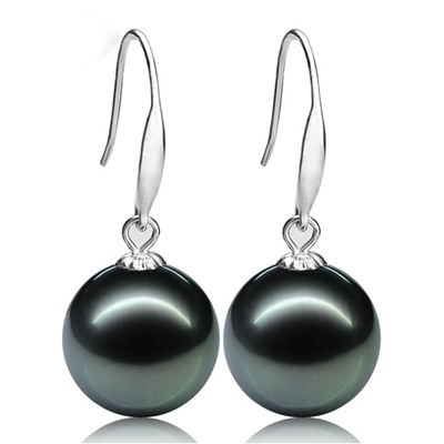 ASHIQI vintage Noble Natural Tahitian pearl earring , Gold earrings for women 10-11mm Black Pearls jewelry