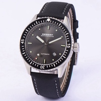Deber 43 мм Мужские автоматические часы черный циферблат керамический ободок часы с сапфирами Miyota 821A Move Мужские t Мужские механические часы