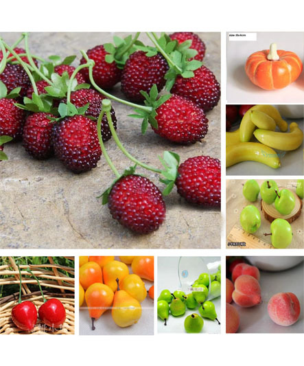 Fruit Decor For Kitchen White Marble Countertops Artificial Foam Mini Fruits Food Festival Decoration Table Wedding Party Christmas Flower Vegetable