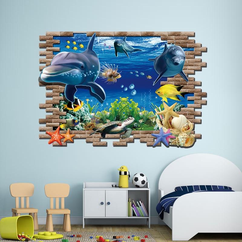 Sea Aquarium Dolphin 3D Wall Stickers Creative Wall Poster DIY Animal Home Decoration
