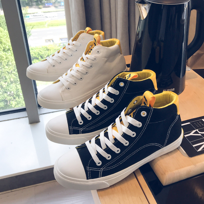 Autumn Fashion Canvas Shoes Men 2018 Classic Students All Match Sneakers Man High Top Shoes Casual Vulcanized Shoes Size 39 44