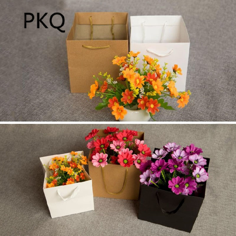 20pcslot square flower gift kraft paper bag flower packaging boxes 20pcslot square flower gift kraft paper bag flower packaging boxes florist gift packaging favors wedding party decoration in gift bags wrapping supplies mightylinksfo