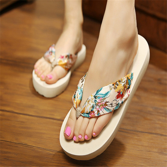 9a8e4be5be66c3 2017 Summer Teenage Girls Sandals Bohemia Satin Slope Heel Beach Female  Flip Flops Big Girl And Woman Beach Shoes EU 35-42