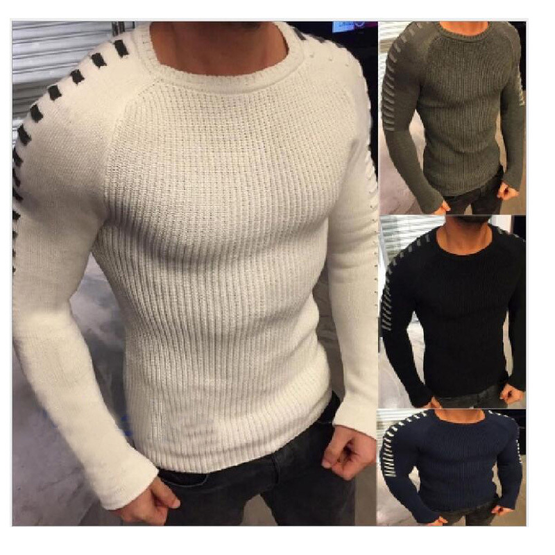 PADEGAO Men sweater 2018 new winter round collar Slim Fit Pullover  warm classic men personality Long-sleeved