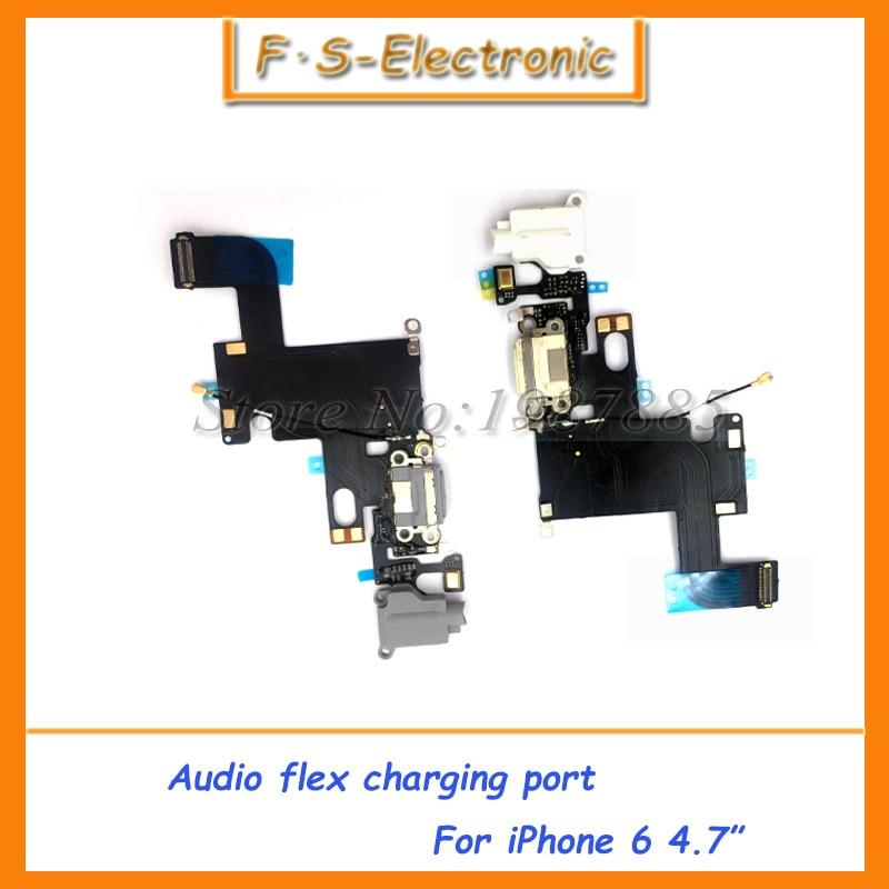 """imágenes para 10 unids/lote Carga cable de la flexión para el iphone 6 4.7 """"6 Plus 5.5"""" Audio Jack de auriculares USB puerto de conector dock flex cable negro blanco"""