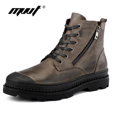 68bb77b7ad0 MVVT Plus Size Motorcycle boots Men Winter Boots Top Quality Genuine  Leather Men Boots Platform Snow Boots Waterproof Shoes