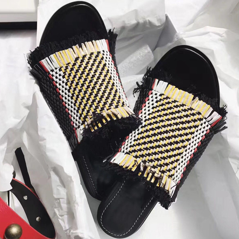 Casidueho Fringe Chic Women Slippers Mixed Color Flats Summer Gladiator Sandals Women Dress Sandalias Mujer 2018 Knitting Shoes alluring spaghetti strap fringe design pure color dress for women