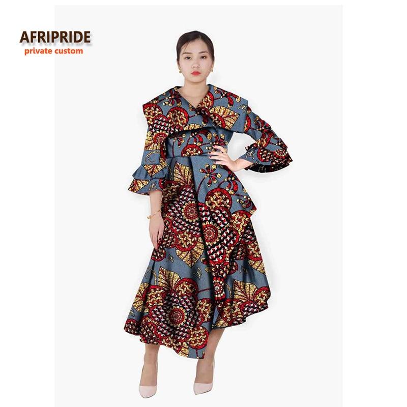აფრიკის სტილის შემოდგომაზე pleated კაბები ქალებისთვის robe femmes africaine ტანსაცმელი fashion plus plus size V-NECK A622503