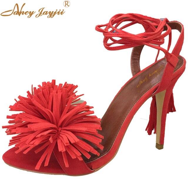 15336ab68d5 Mujeres sandalias rojas flores punta abierta zapatos mujer Sexy mujeres de  cuero de grano completo encaje