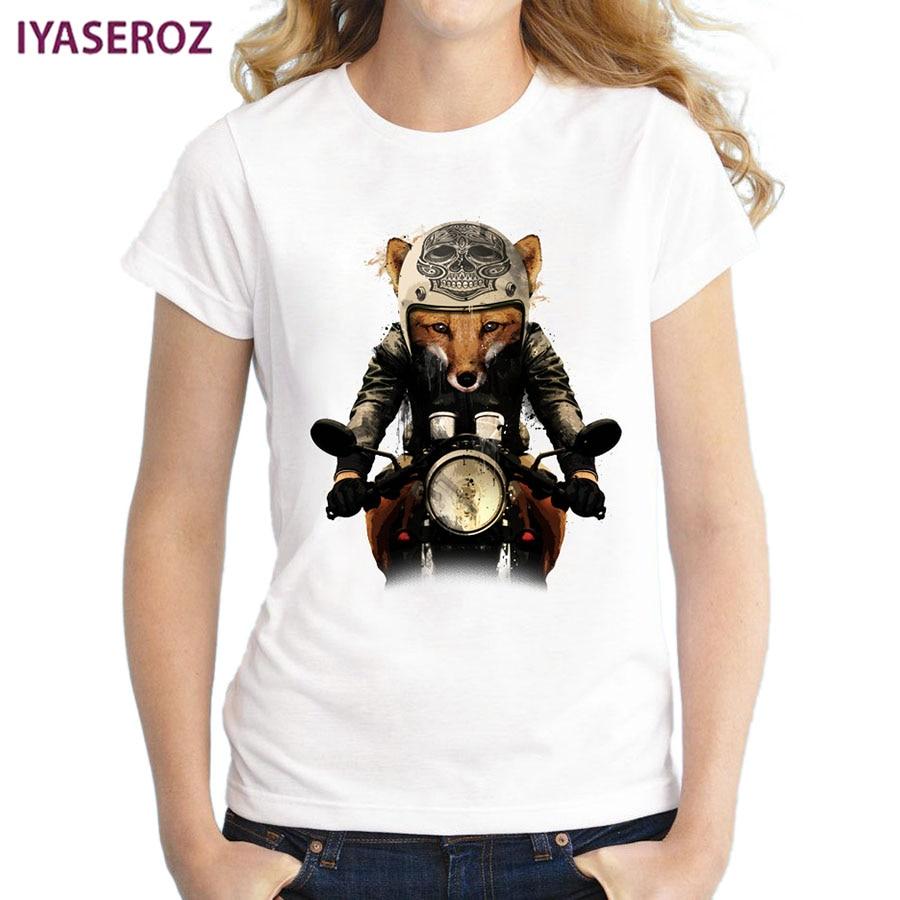 IYASEROZ Factory Store IYASEROZ 2017 Summer Retro Fashion Women T-Shirts Fox Biker Printed T Shirts Casual Slim Halajuku Top Feminine Short Sleeve Tees