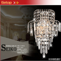 Hot Sale K9 Crystal Stainless Steel E14 LED Wall Lamp for Bedside Hotel Bedroom Staircase Sitting Room Corridor Lamp