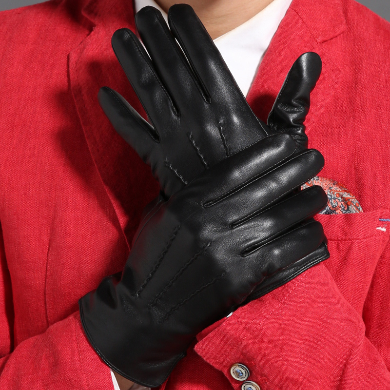 Image 2 - Gours Winter Genuine Leather Gloves Men New Brand Black Fashion Warm Driving Gloves Goatskin Mittens Guantes Luvas GSM015-in Men's Gloves from Apparel Accessories