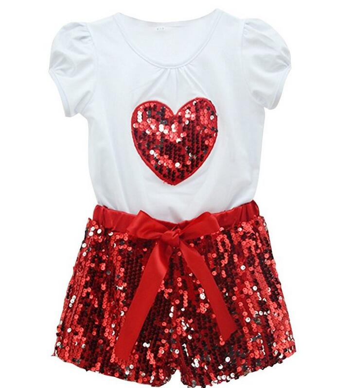 Kids Clothes Gilrs Summer Clothes Outfits Sets 2015 Toddler Baby Girls  Short T Shirtssequin Bow Pants