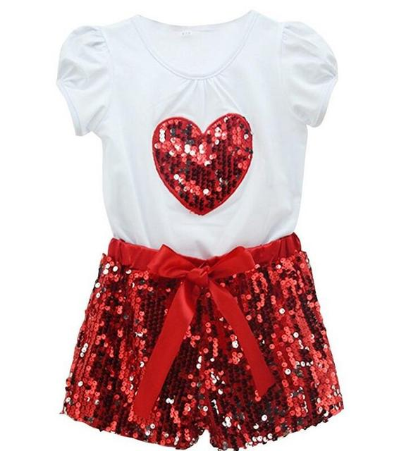 Kids Clothes Gilrs Summer Clothes Outfits Sets 2015 Toddler Baby Girls  Short T Shirts+Sequin