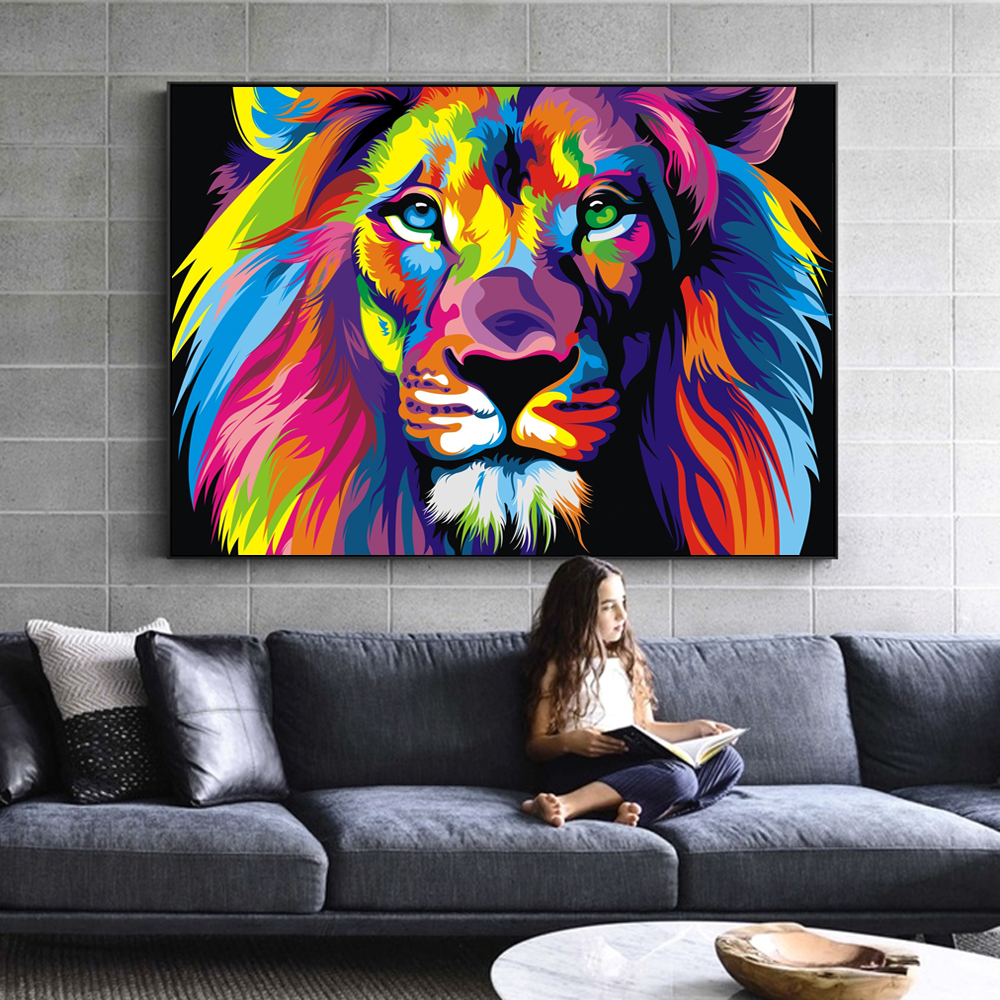 Watercolor Lion Wall Art Canvas Abstract Animals Lion Pop
