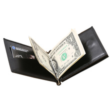 New Brand Luxury Business Man money clip wallet with metal clamp magnet hasp card slots slim designer leather purse for men